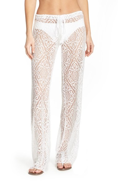 Becca Amore Lace Swim Cover Up Pants White