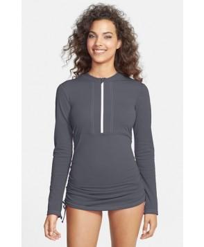 Mott 5 'Sonja' Long Sleeve Half Zip Convertible Swimdress  - Grey
