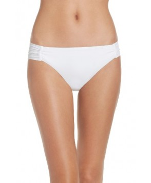 Trina Turk Shirred Side Bikini Bottoms - White