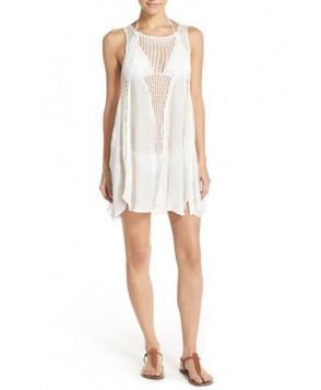 Elan Crochet Inset Cover-Up Dress  - White