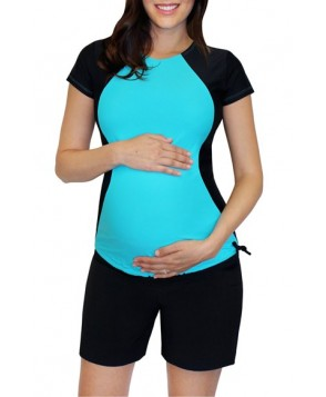 Mermaid Maternity Short Sleeve Maternity Rashguard  - Blue