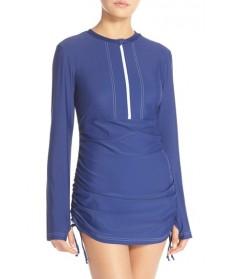 Mott 50 'Sonja' Long Sleeve Half Zip Convertible Swimdress - Blue