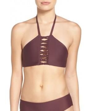Mikoh West Oz Halter Bikini Top - Burgundy