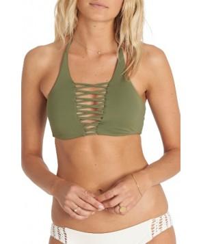 Billabong Sol Searcher Lace-Up Halter Bikini Top  - Green