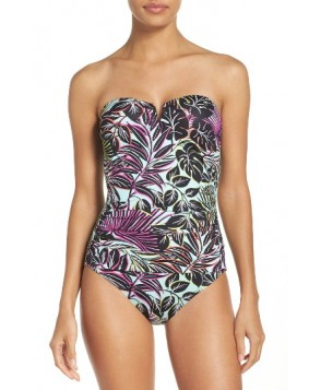 Tommy Bahama Lively Leaves One-Piece Swimsuit - Green
