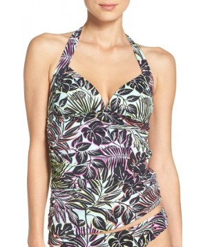 Tommy Bahama Lively Leaves Shirred Halter Tankini Top