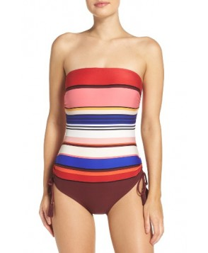 Kate Spade New York Stripe One-Piece Swimsuit - Burgundy