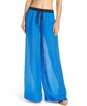 Diane Von Furstenberg Cover-Up Wide Leg Pants, Size Petite - Blue