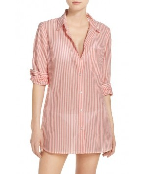Caslon Stripe Boyfriend Shirt Cover-Up