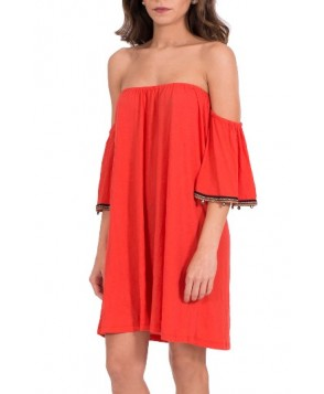 Pitusa Salsa Off The Shoulder Cover-Up Dress - Red