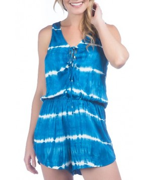 Green Dragon Tie Dye Cover-Up Romper - Blue