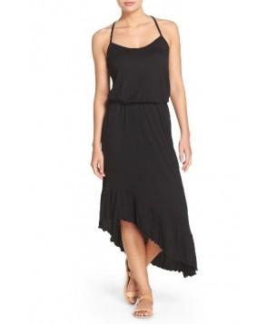 Green Dragon Asymmetrical Cover-Up Dress - Black