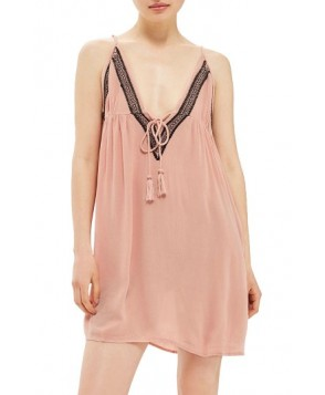 Topshop Embroidered Cover-Up Slipdress - Pink
