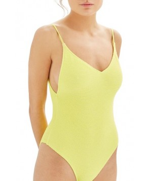 Topshop Textured One-Piece Swimsuit US (fits like 6-8) - Yellow