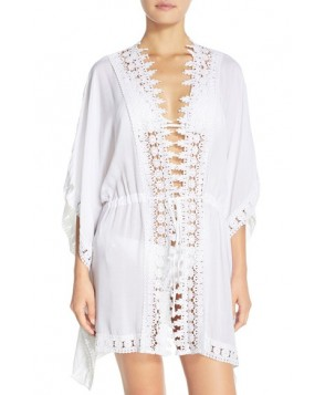 La Blanca 'Costa Brava' Crochet Cover-Up Kimono /Small - White