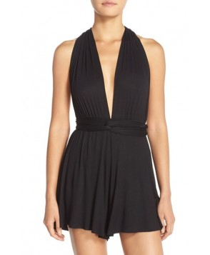 Elan Convertible Cover-Up Romper  - Black