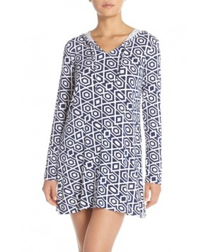Mott 5 Print Hooded Upf 5 Cover-Up  - Blue