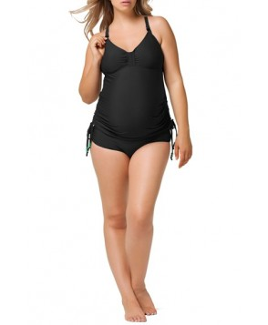 Cake 'Shake' Tankini Maternity/nursing Swimsuit  - Black
