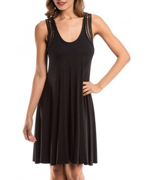 Robin Piccone 'Laurel' Crochet Racerbank Cover-Up Dress  - Black
