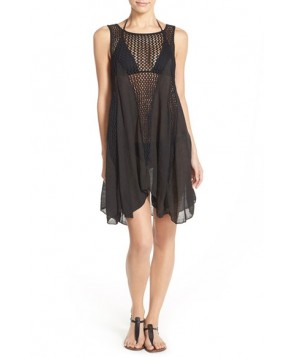 Elan Crochet Inset Cover-Up Dress  - Black