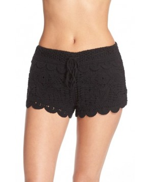 Surf Gypsy Crochet Cover-Up Shorts  - Black