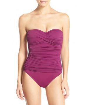 La Blanca Twist Front Bandeau One-Piece Swimsuit  - Burgundy