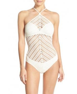 Robin Piccone 'Sophia' Crochet One-Piece Swimsuit  - Beige