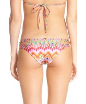 Luli Fama Cutout Sides Print Bikini Bottoms