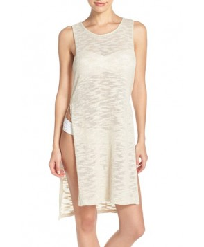 Green Dragon Side Slits Sweater Cover-Up - Ivory