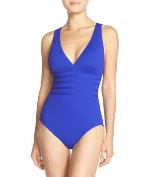 La Blanca Cross Back One-Piece Swimsuit  - Blue