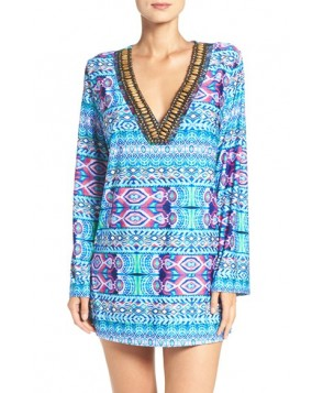La Blanca 'Global' Beaded Cover-Up Tunic  - Blue