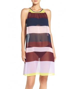Ted Baker London Stripe Cover-Up Midi Dress  - Blue