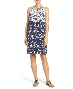 Tommy Bahama Leaf Print Cover-Up Dress  - Blue