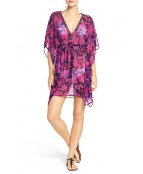 Tommy Bahama 'Jacobean' Beaded Neck Cover-Up Tunic /X-Large - Pink