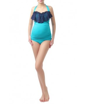 Kimi And Kai 'Ruby Crochet' Maternity Two-Piece Tankini Swimsuit - Blue/green
