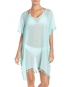 Seafolly 'Amnesia' Cotton Gauze Cover-Up Caftan Size One Size - Green