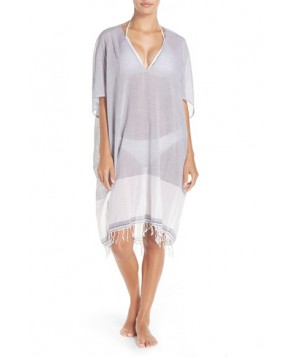 Caslon Fringe Cover-Up Tunic /Small - Blue