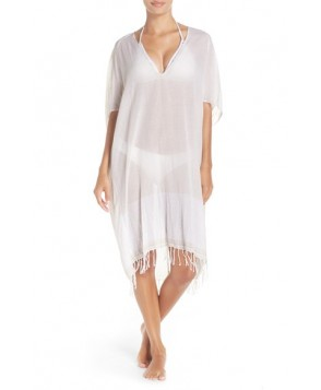 Caslon Fringe Cover-Up Tunic /Small - Beige