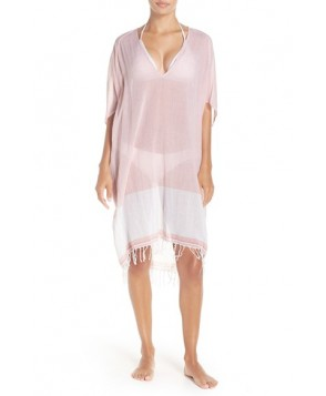 Caslon Fringe Cover-Up Tunic /Small - Coral