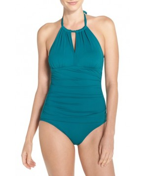 Tommy Bahama 'Pearl' High Halter Neck One-Piece Swimsuit  - Blue