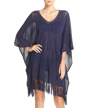 Tommy Bahama Linen Blend Cover-Up Poncho /X-Large - Blue