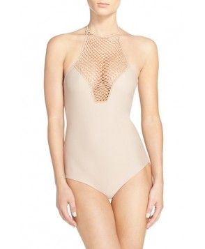 Acacia Swimwear Crochet Halter One-Piece Swimsuit - Ivory
