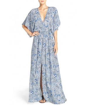 Elan Print Woven Cover-Up Caftan Maxi Dress  - Blue