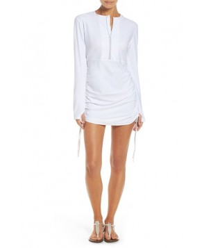 Mott 5 'Sonja' Long Sleeve Half Zip Convertible Swimdress  - White