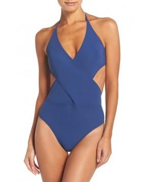 Tory Burch Halter One-Piece Swimsuit - Blue