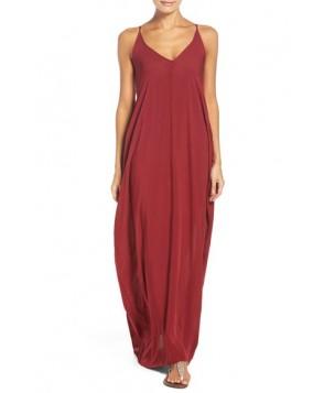 Elan V-Back Cover-Up Maxi Dress  - Burgundy