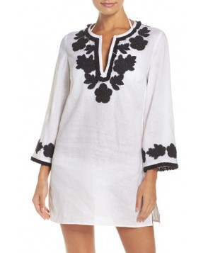 Tory Burch Applique Cover-Up Tunic  - Ivory