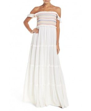 Tory Burch Smocked Cover-Up Maxi Dress