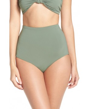 Mara Hoffman High Waist Bikini Bottoms  - Green
