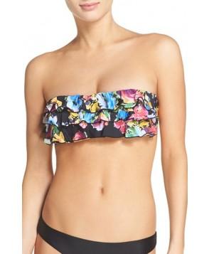 Pilyq Underwire Bandeau Bikini Top, Size D - Black
